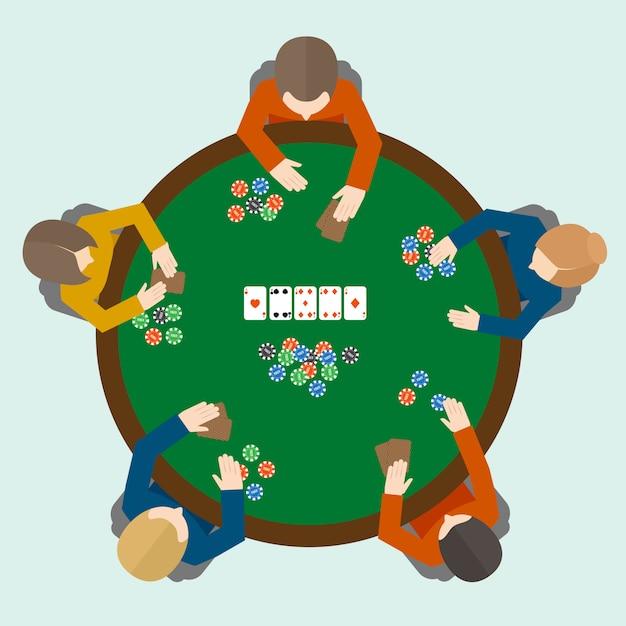 Gens de jeu de poker Vecteur Premium