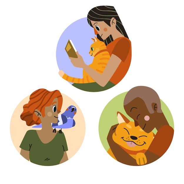Les Gens Jouent Avec Leurs Animaux De Compagnie Vecteur gratuit