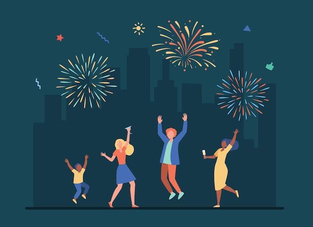 Des Gens Joyeux Célébrant Avec Un Salut Coloré. Illustration De Bande Dessinée Vecteur gratuit