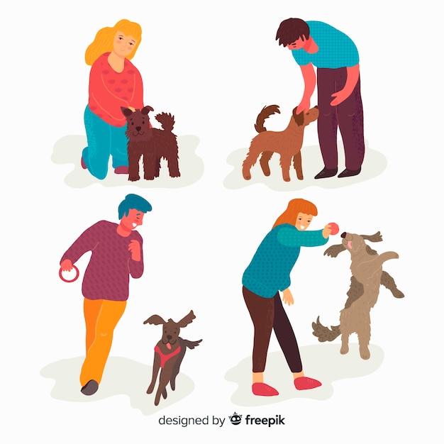 Les gens avec leurs animaux de compagnie Vecteur gratuit