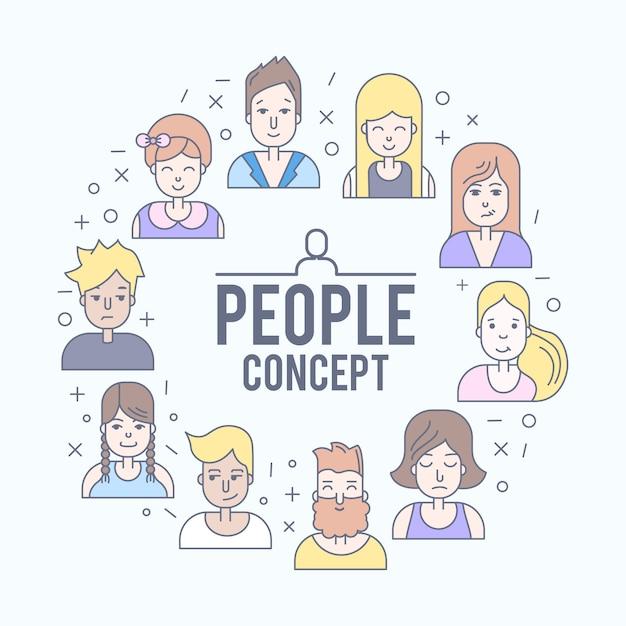 Les gens linéaire plat fait face à illustration. avatar, userpic et profils sur les réseaux sociaux. Vecteur gratuit