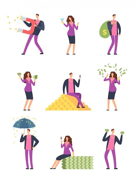 Les gens de luxe riches dépensent de l'argent Vecteur Premium