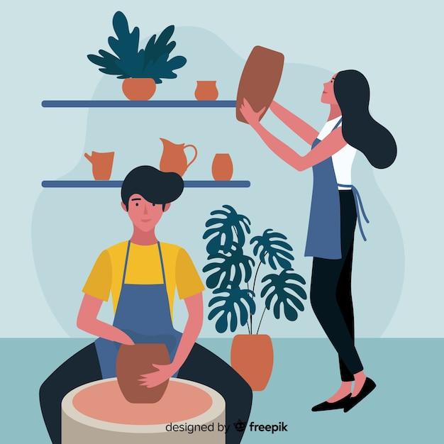 Des gens à la maison font de la poterie Vecteur gratuit