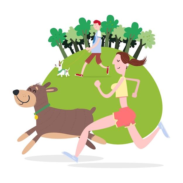 Les gens marchent et courent avec leurs chiens Vecteur Premium