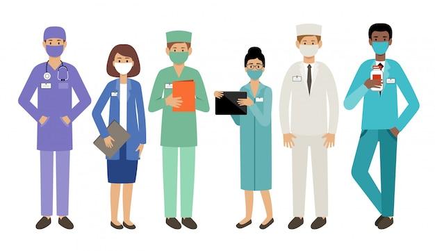 Gens Médecins Dans Des Masques Médicaux. épidémie. Virologues Vecteur Premium