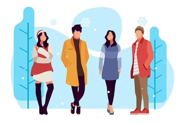 Les gens de la mode portant des vêtements d'hiver Vecteur gratuit