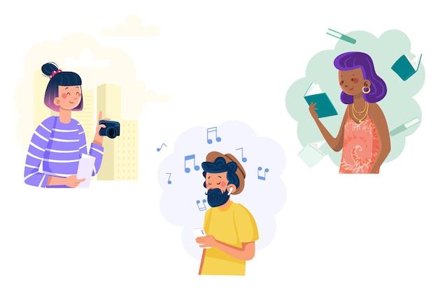 Les Gens Modernes écoutent De La Musique Vecteur gratuit