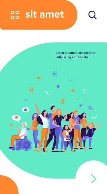 Gens Multiculturels Debout Ensemble Isolé Illustration Vectorielle Plane. Cartoon Divers Personnages De Membres De La Communauté Multinationale Vecteur gratuit