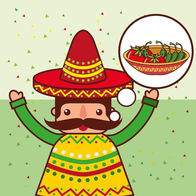 Gens nourriture mexicaine Vecteur Premium