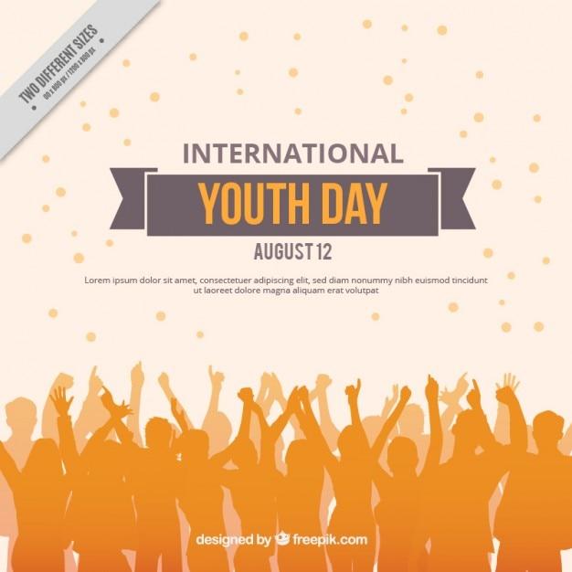 Les gens orange silhouettes fond de la journée de la jeunesse Vecteur gratuit
