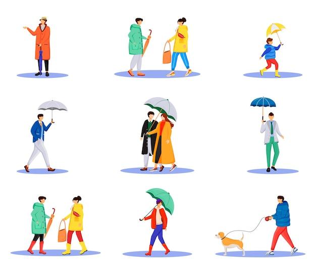 Les Gens Avec Des Parapluies Jeu De Caractères Sans Visage De Couleur Plate Vecteur Premium