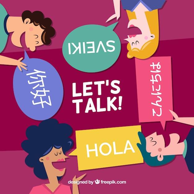Gens parlant différentes langues avec un design plat Vecteur gratuit