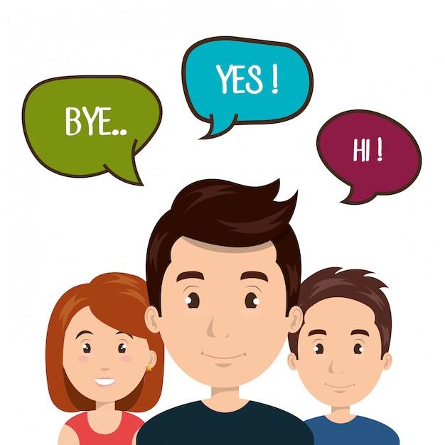 Les gens parlent la communication de parole Vecteur Premium