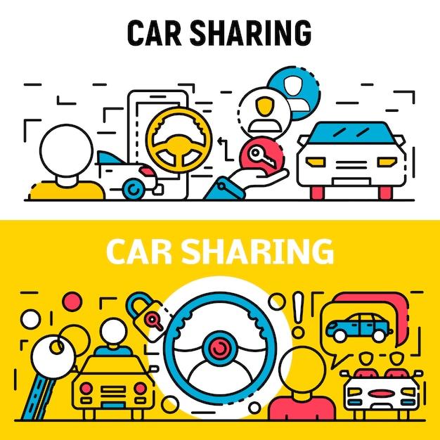 Gens de partage de voitures, style de contour Vecteur Premium
