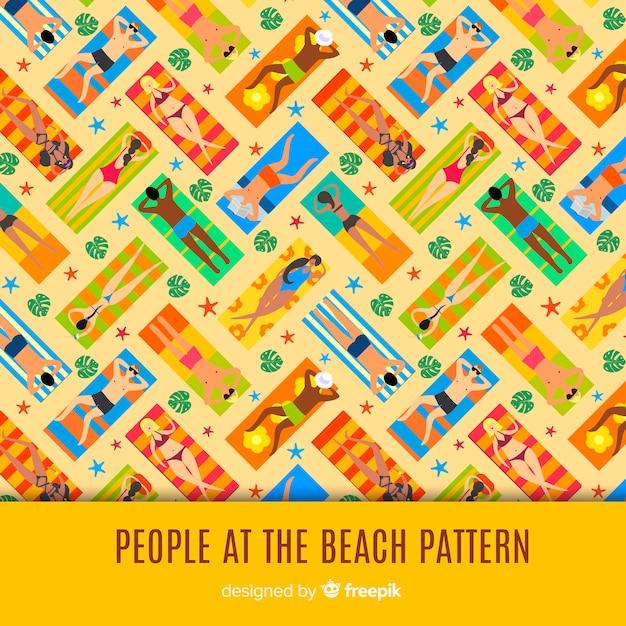 Les gens à la plage Vecteur gratuit
