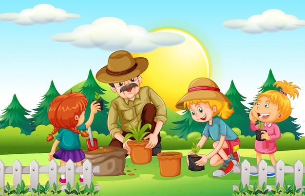 Gens, Planter Arbre, Dans Parc Vecteur gratuit