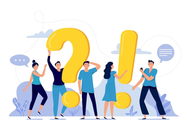 Les Gens Posent Des Questions Fréquemment Posées Vecteur gratuit