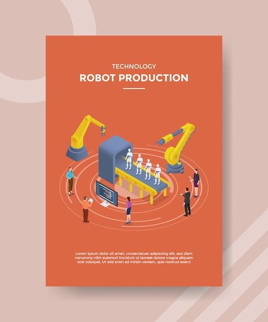Gens De Production De Robot De Technologie Debout Autour Du Développement De Robot Machine Pour Un Modèle De Flyer Vecteur gratuit