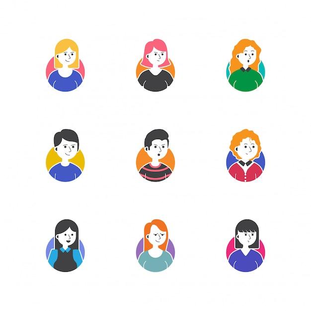 Gens de profil photo icon set vector collection Vecteur Premium