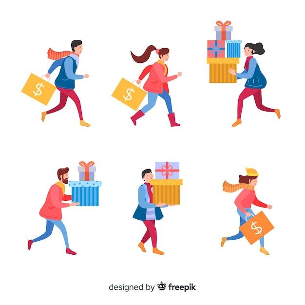 Gens qui achètent une collection de cadeaux de noël Vecteur gratuit