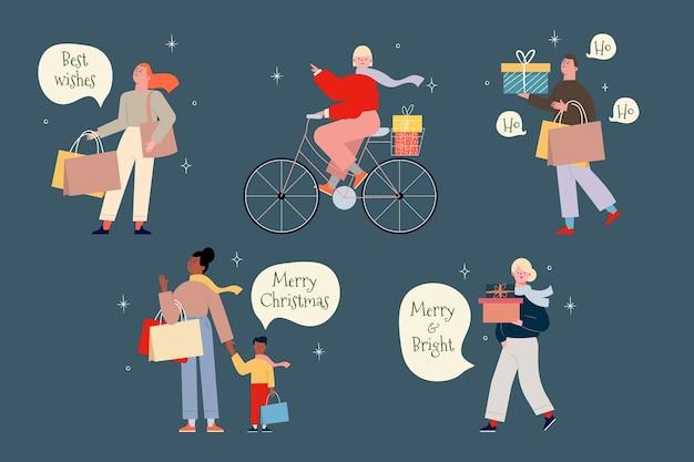 Les gens qui achètent un paquet de cadeaux de noël Vecteur gratuit