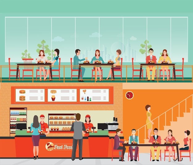 Les Gens Qui Achètent De La Restauration Rapide à L'intérieur Du Restaurant Fast-food Avec Hamburger Et Boisson. Vecteur Premium