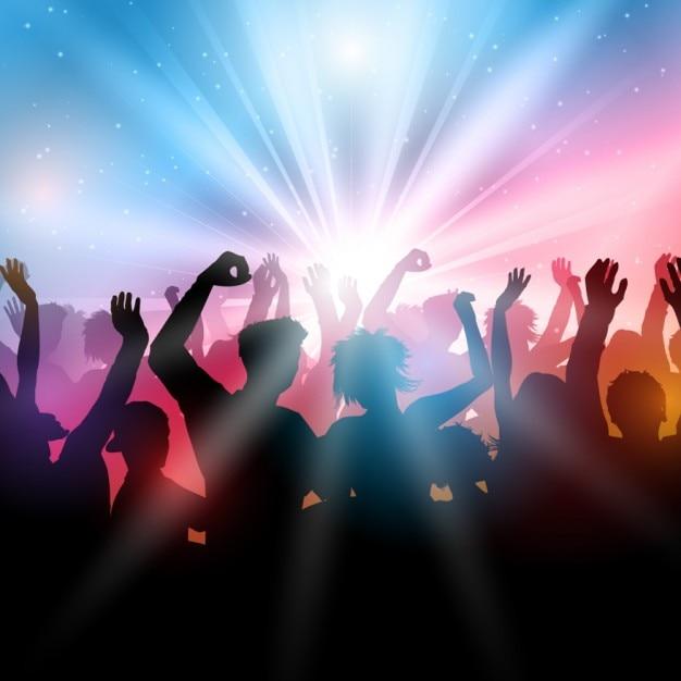 Gens qui dansent dans un contour de boîte de nuit Vecteur gratuit