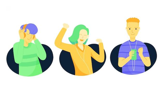 Gens qui écoutent de la musique illustration Vecteur Premium