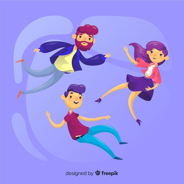 Les gens qui flottent dans l'air Vecteur gratuit