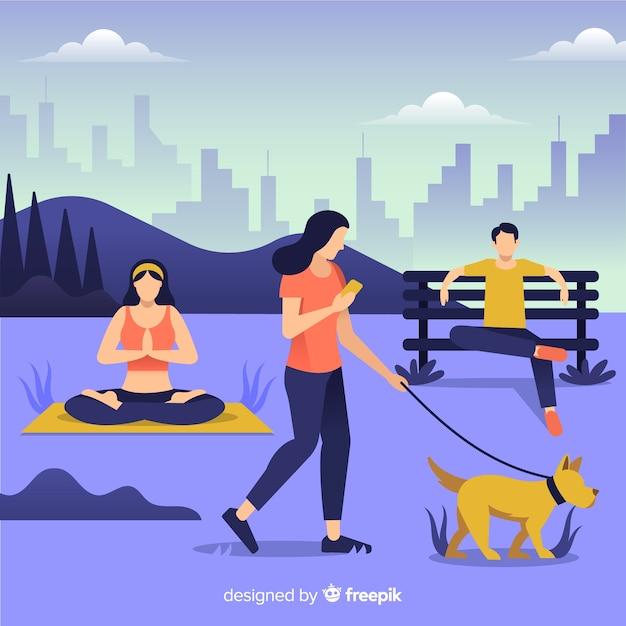 Les gens qui font des activités en plein air Vecteur gratuit