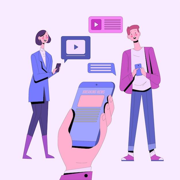 Les Gens Qui Regardent Les Dernières Nouvelles Au Téléphone Vecteur gratuit