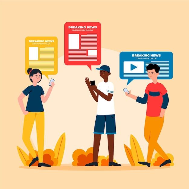 Gens Qui Regardent Les Nouvelles Sur L'illustration Du Téléphone Vecteur gratuit