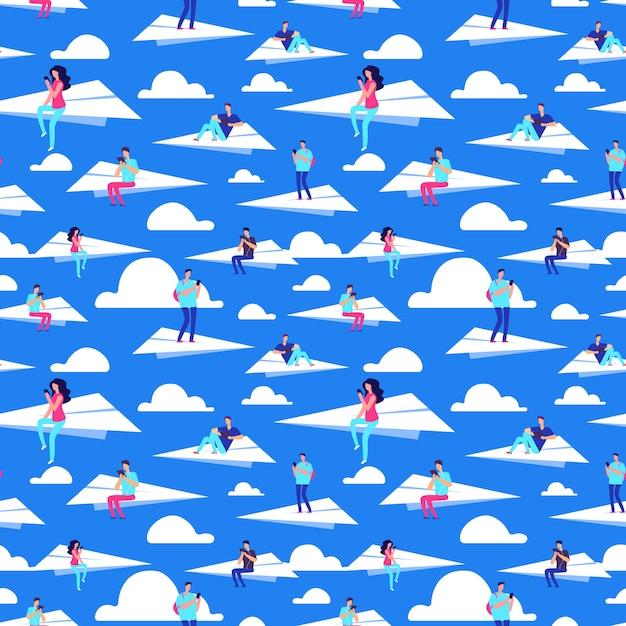 Les Gens Qui Volent Sur Des Avions En Papier Modèle Sans Couture De Vecteur Vecteur Premium