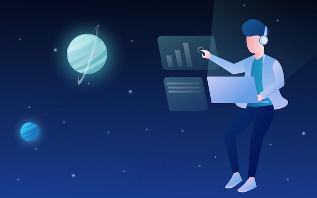 Les gens qui volent sur l'espace avec l'imagination futuriste de la technologie portable Vecteur Premium