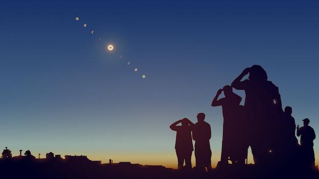 Les Gens Regardent Une éclipse Solaire Dans Le Ciel Avec Des étoiles. Illustration Réaliste. Vecteur Premium