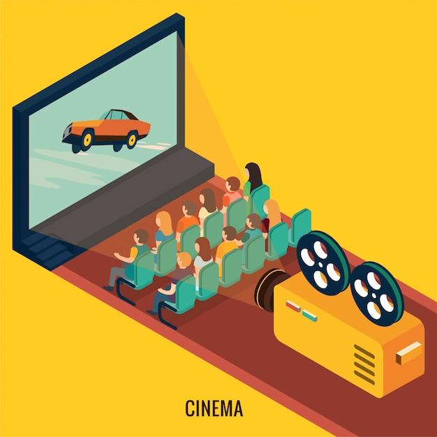 Les Gens Regardent Un Film Au Cinéma. Illustration 3d Isométrique Vecteur Premium