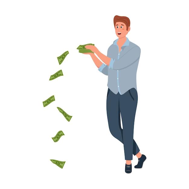 Gens Riches Et Chanceux Vecteur Premium
