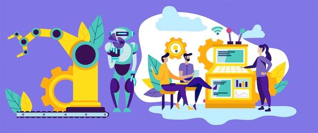 Les gens et les robots en production. automatisation moderne. Vecteur Premium