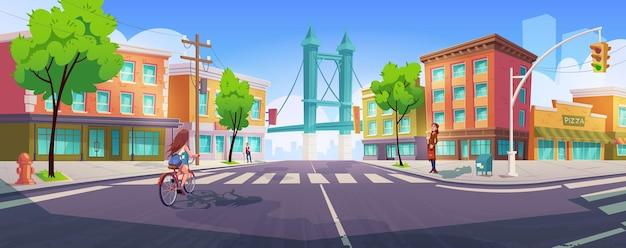 Les Gens Sur La Rue De La Ville Avec Carrefour, Bâtiments Et Pont. Vecteur gratuit