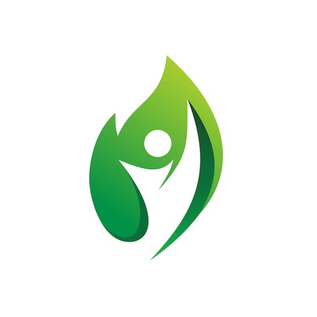 Les gens santé nature logo vector Vecteur Premium