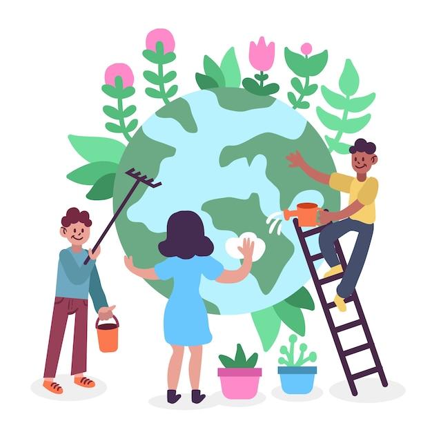 Les Gens Sauvent La Planète Ensemble Vecteur gratuit