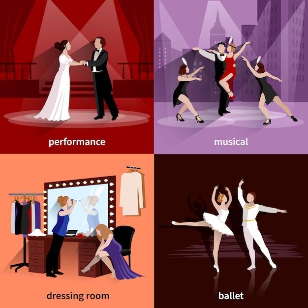 Des gens sur des scènes de théâtre, des ballets musicaux et des vestiaires Vecteur gratuit