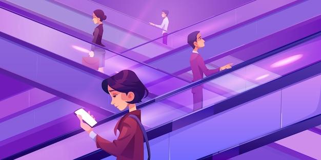 Gens Se Déplaçant Sur Des Escaliers Mécaniques Dans Un Centre Commercial Vecteur gratuit
