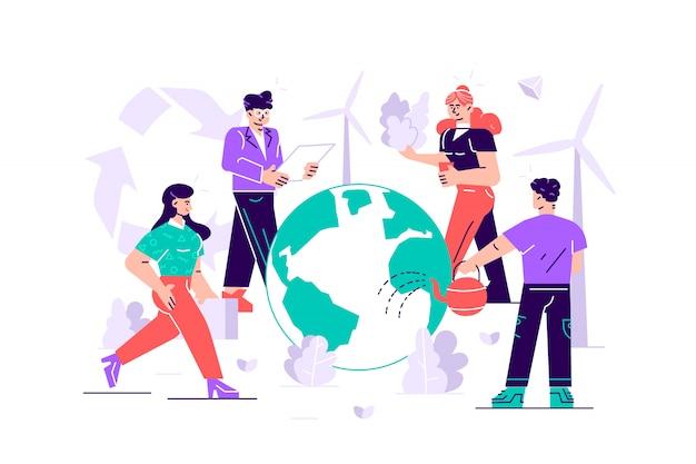 Les Gens Se Préparent Pour Le Jour De La Terre. Sauvez La Planète. économiser L'énergie Vecteur Premium