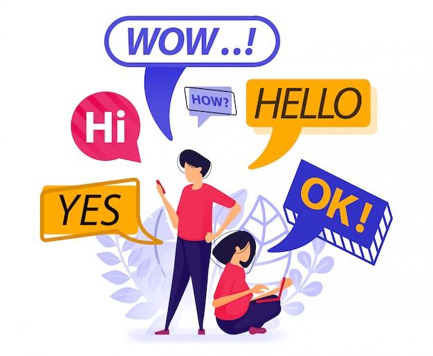 Les gens se saluent et discutent avec une discussion en bulle. Vecteur Premium