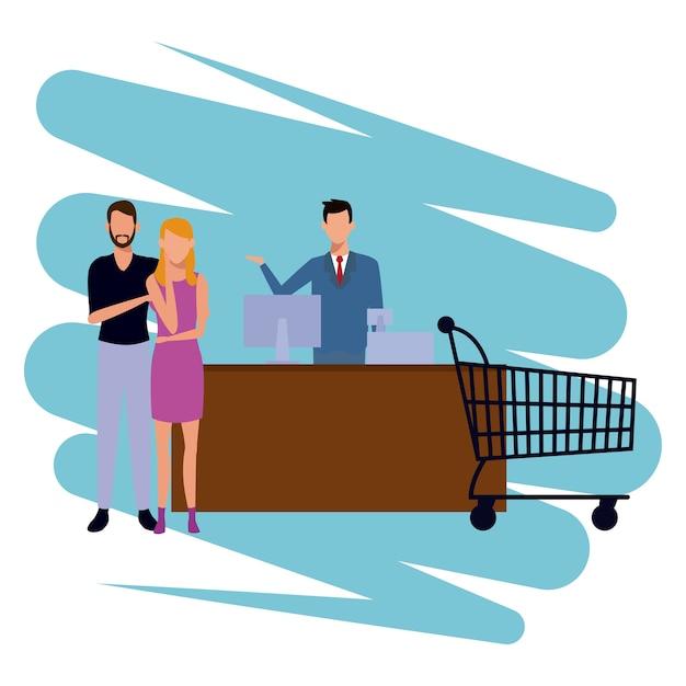 Gens shopping dessin animé Vecteur Premium