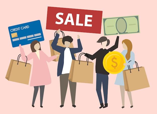 Gens avec shopping icônes illustration Vecteur gratuit