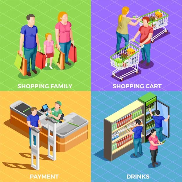 Les gens shopping isométrique Vecteur gratuit