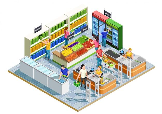 Les Gens Shopping Isométrique Vecteur Premium