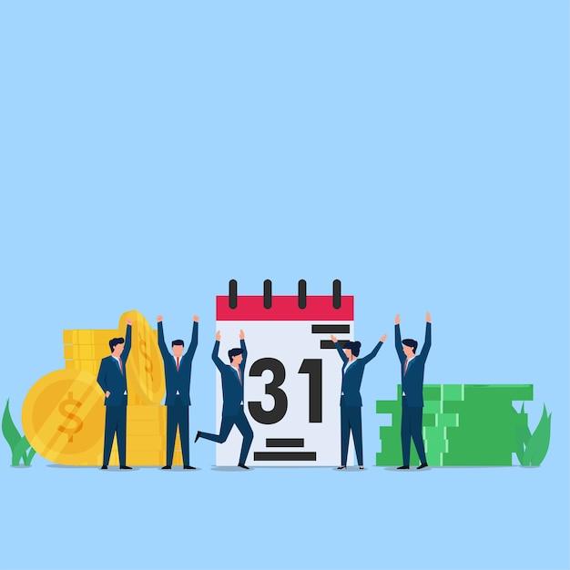 Les Gens Sont Satisfaits Du Paiement Du Salaire à La Fin Du Mois. Illustration De Concept Plat Entreprise. Vecteur Premium